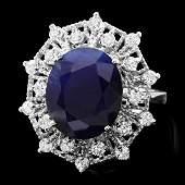 14k Gold 9.00ct Sapphire 0.85ct Diamond Ring