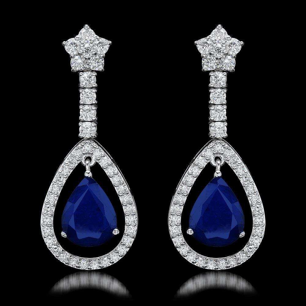 14k White Gold 6.50ct Sapphire 2.75ct Diamond Earrings