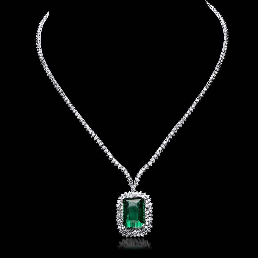 18K White Gold, 21.50cts Tourmaline, 8.05cts Diamond