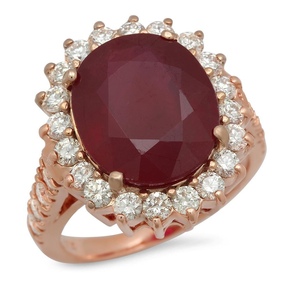 14K Gold 9.99ct Ruby 1.40ct Diamond Ring