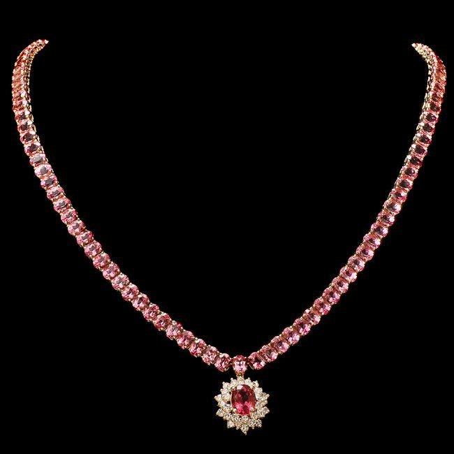 14k Gold 44ct Tourmaline 1.40ct Diamond Necklace
