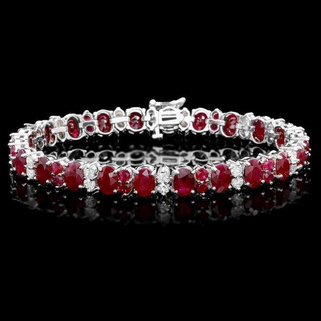 14k White Gold 28ct Ruby 2.40ct Diamond Bracelet