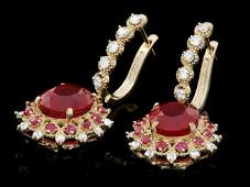 14k Gold 75ct Ruby 100ct Diamond Earrings