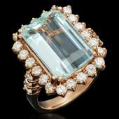 14K Gold 755ct Aquamarine 151ct Diamond Ring