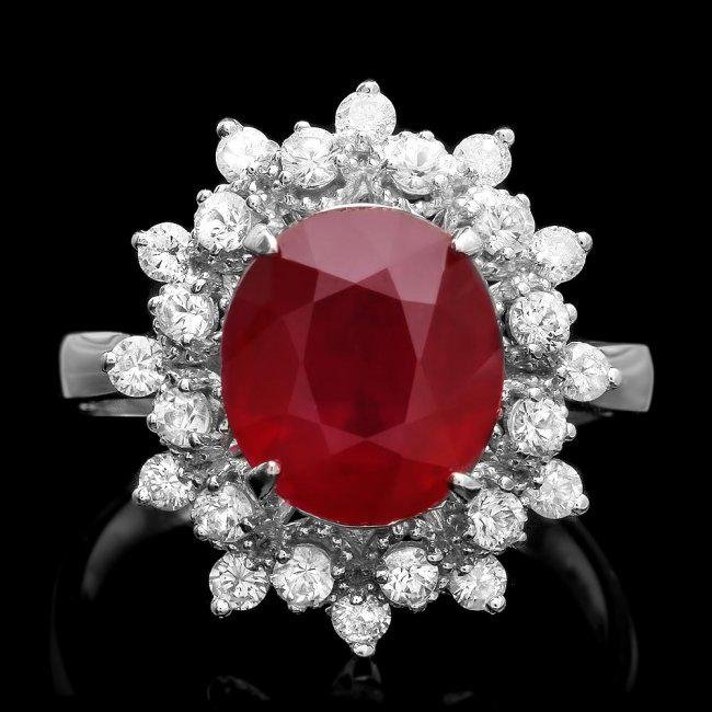 14k White Gold 4.00ct Ruby 0.70ct Diamond Ring