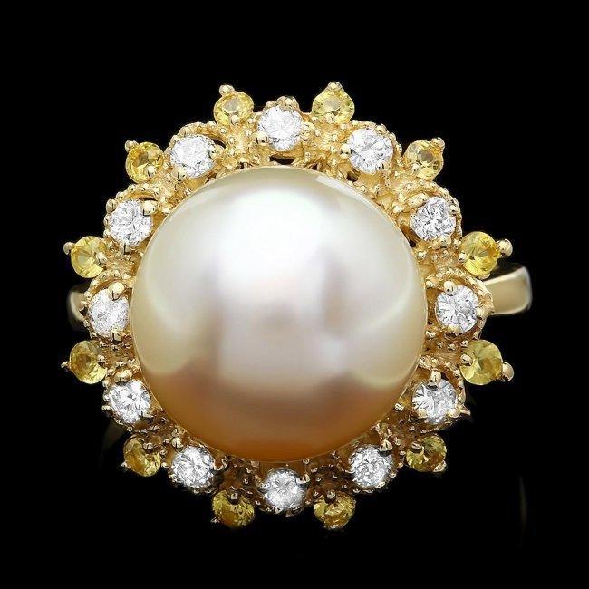 14k Yellow Gold 12mm Pearl 0.40ct Diamond Ring