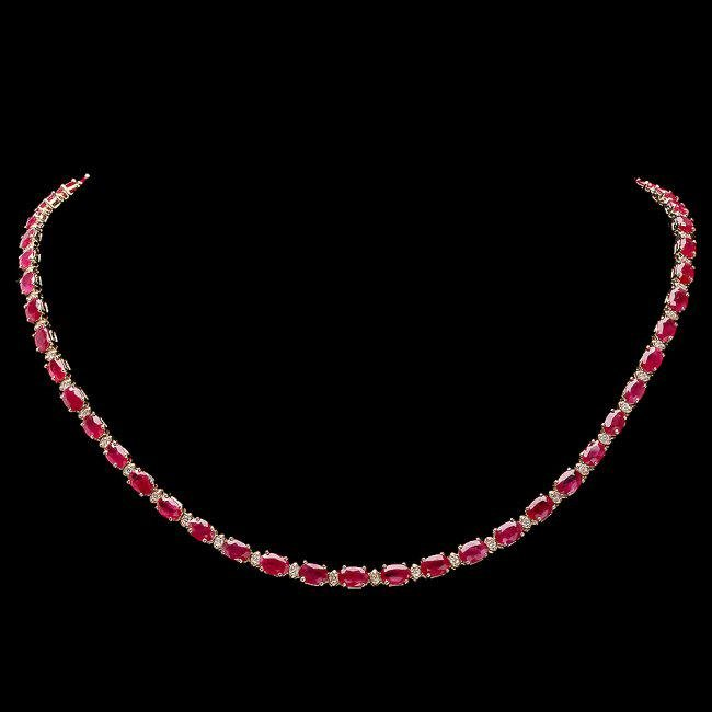 14k Gold 25.00ct Ruby 1.20ct Diamond Necklace