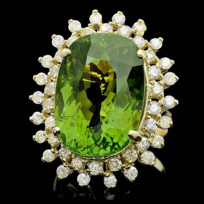 14k Gold 22ct Tourmaline 1.65ct Diamond Ring