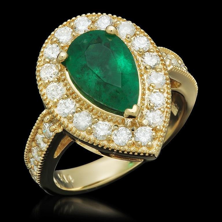 14K Gold 2.21ct Emerald 1.20ct Diamond Ring