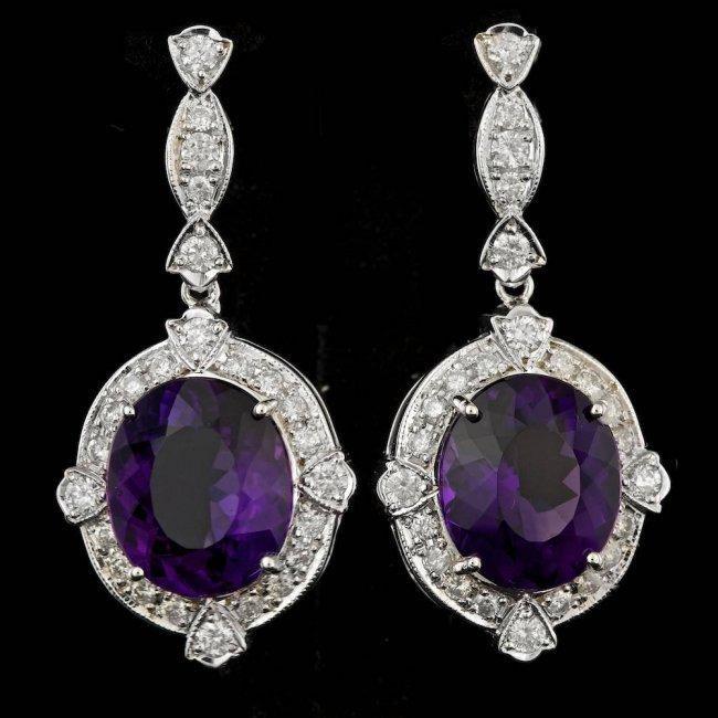 14k Gold 14.50ct Amethyst 1.80ct Diamond Earrings