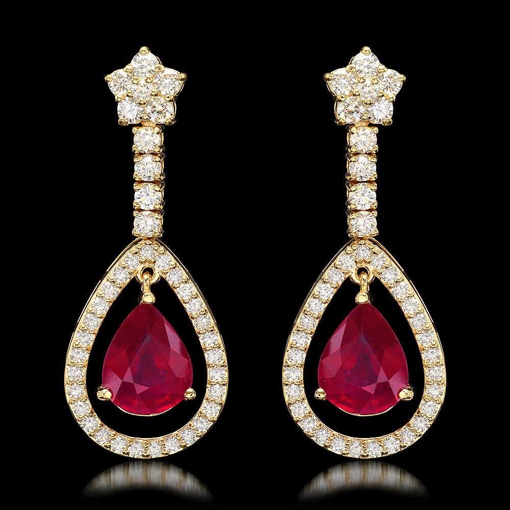 14k Yellow Gold 9.21ct Ruby 2.75ct Diamond Earrings