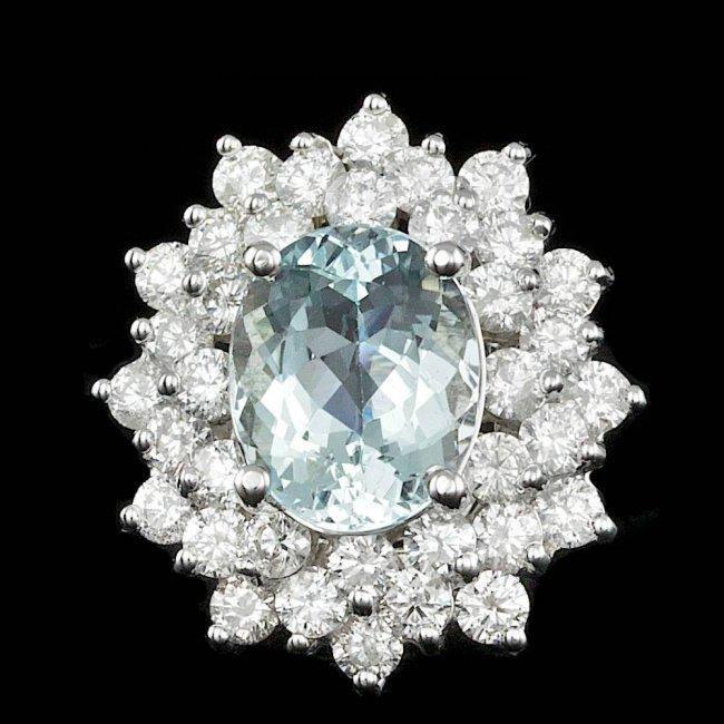 14k Gold 2.50ct Aquamarine 2.40ct Diamond Ring