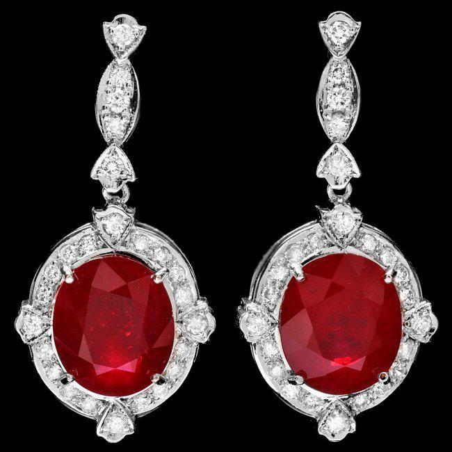 14k Gold 21.70ct Ruby 1.75ct Diamond Earrings
