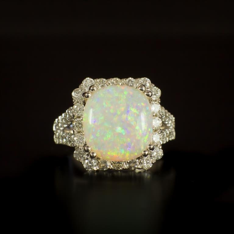 14K Gold 5.31ct Opal 1.60ct Diamond Ring