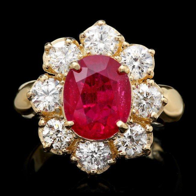 14k Yellow Gold 4.50ct Ruby 2.20ct Diamond Ring