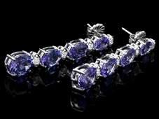 14k Gold 950ct Tanzanite 050ct Diamond Earrings
