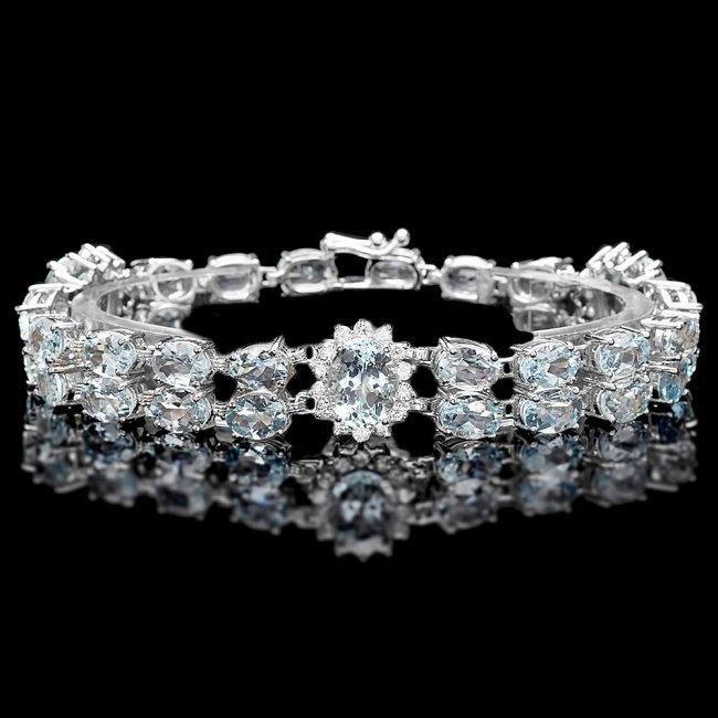 14k Gold 26ct Aquamarine 1.50ct Diamond Bracelet