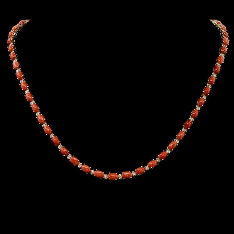 14K Gold 18.30ct Coral 1.10ct Diamond Necklace