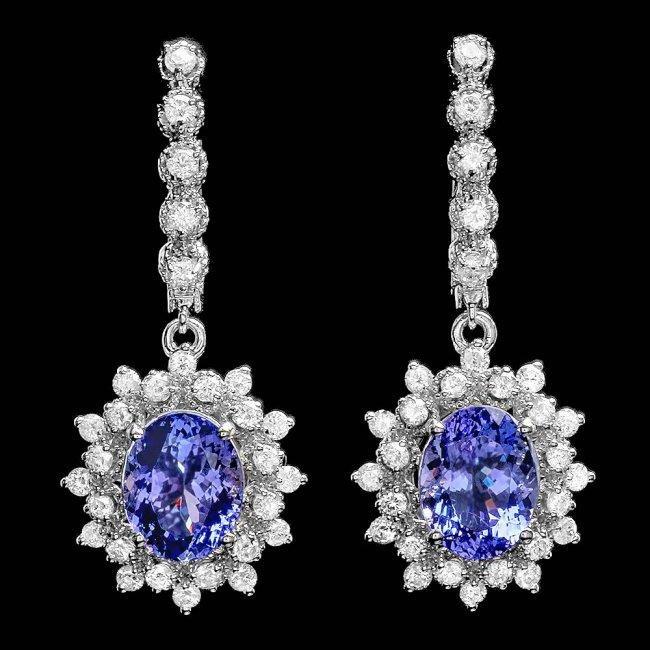 14k Gold 5ct Tanzanite 1.70ct Diamond Earrings
