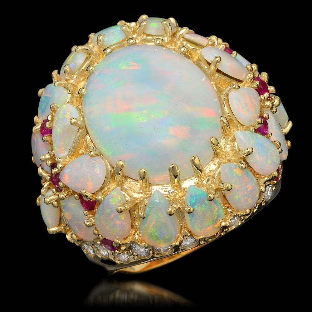 14k Yellow Gold 12.46ct Opal 0.39ct Ruby 1.20ct Diamond
