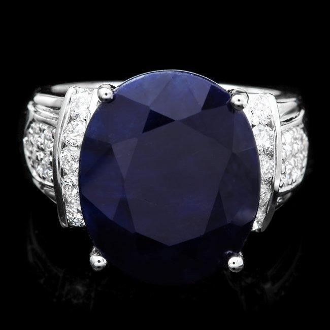 14k Gold 13.50ct Sapphire 0.75ct Diamond Ring