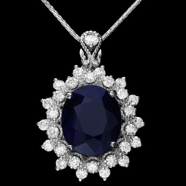 14k Gold 4.40ct Sapphire 0.85ct Diamond Pendant