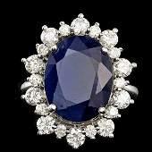 14k Gold 1000ct Sapphire 135ct Diamond Ring