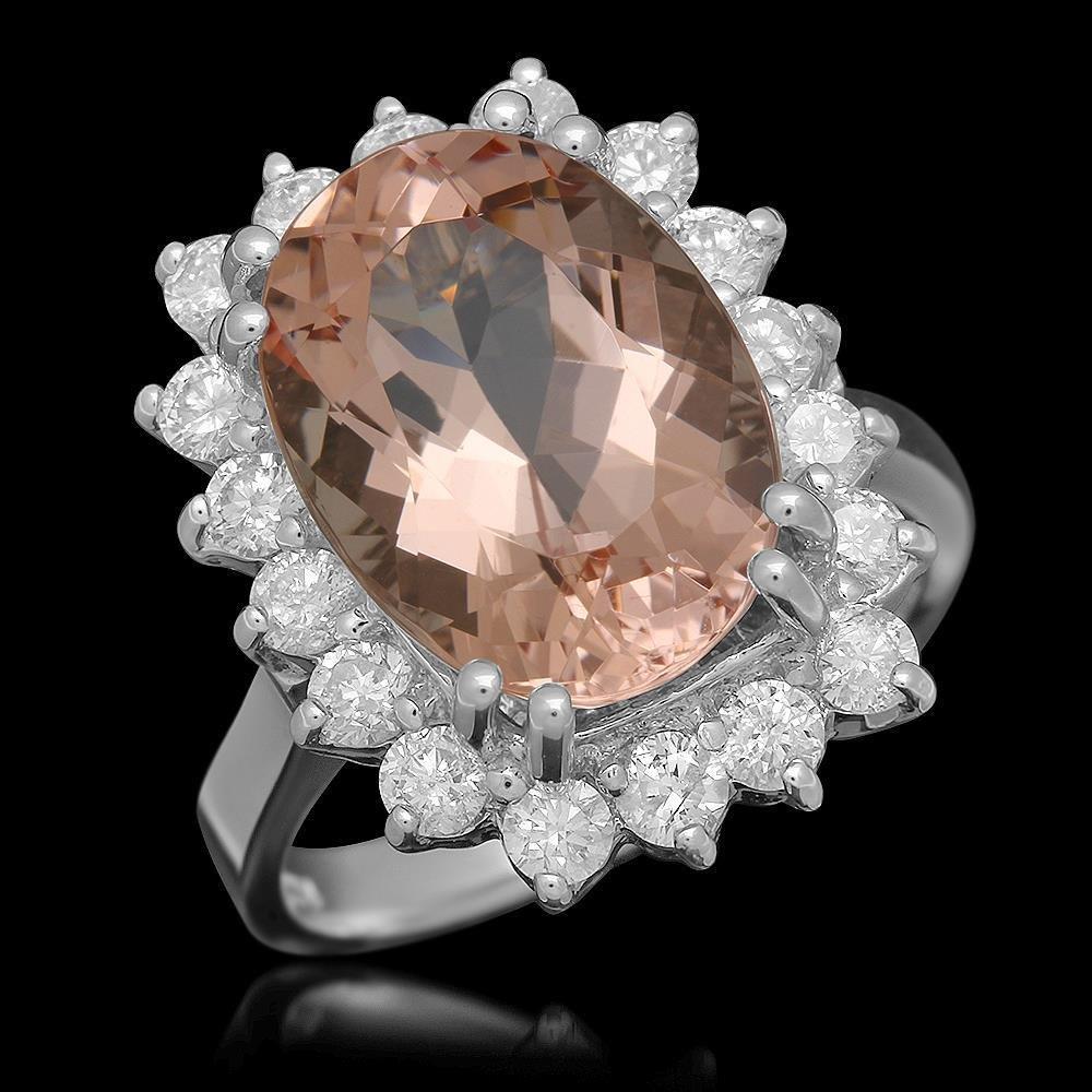 14K Gold 6.23ct Morganite 1.16ct Diamond Ring