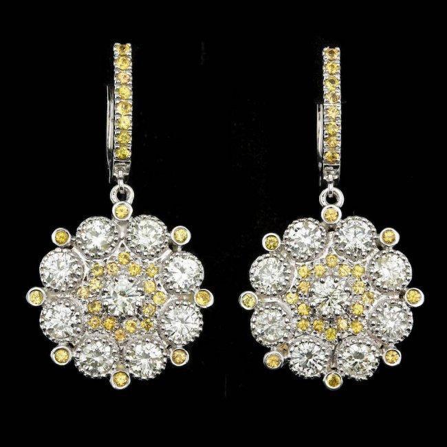 14k Gold 4.75ct Diamond 1.50ct Sapphire Earrings