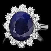 14k Gold 500ct Sapphire 125ct Diamond Ring
