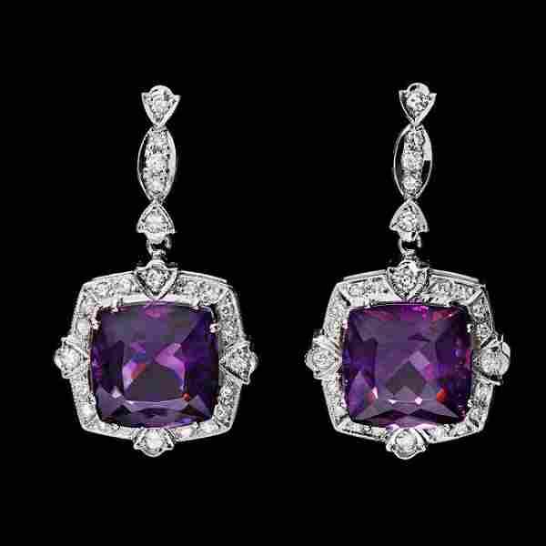 14k Gold 22ct Amethyst 1.75ct Diamond Earrings