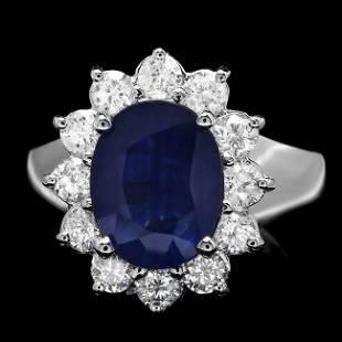 14k Gold 300ct Sapphire 090ct Diamond Ring