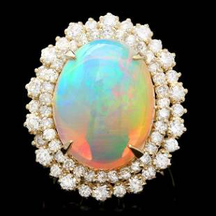 14k Yellow Gold 1000ct Opal 215ct Diamond Ring