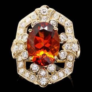 14k Gold 550ct Citrine 125ct Diamond Ring