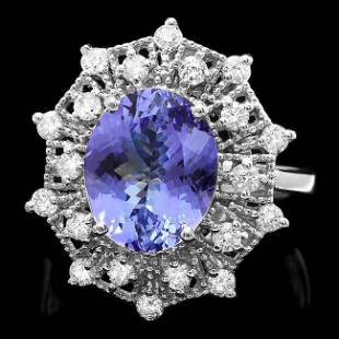 14k Gold 400ct Tanzanite 070ct Diamond Ring