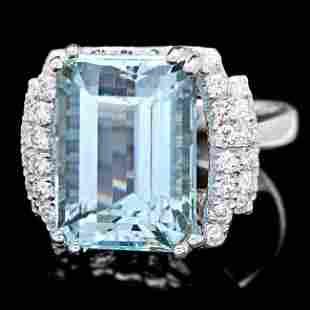 14k Gold 10ct Aquamarine 063ct Diamond Ring
