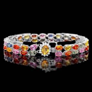 14k Gold 29ct Sapphire 040ct Diamond Bracelet