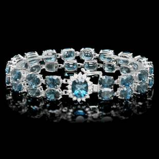 14k Gold 485ct Topaz 060ct Diamond Bracelet