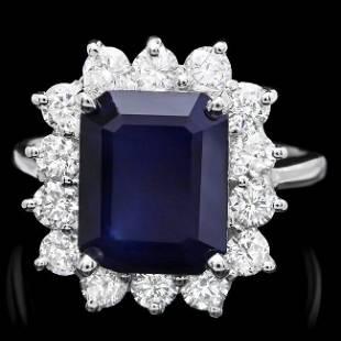 14k Gold 470ct Sapphire 130ct Diamond Ring