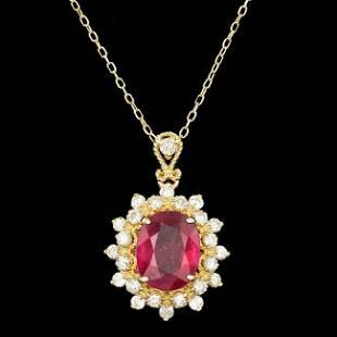 14k Gold 300ct Ruby 070ct Diamond Pendant