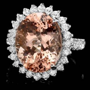 14k Gold 950ct Morganite 120ct Diamond Ring