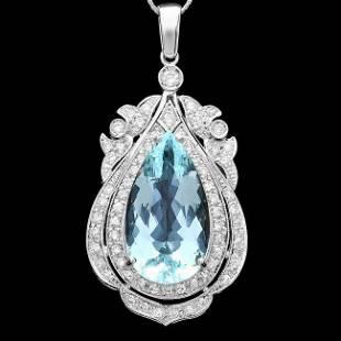 14k Gold 18ct Aquamarine 18ct Diamond Pendant