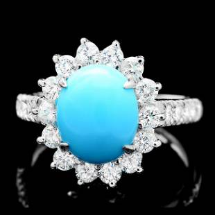 14k Gold 250ct Turquoise 120ct Diamond Ring