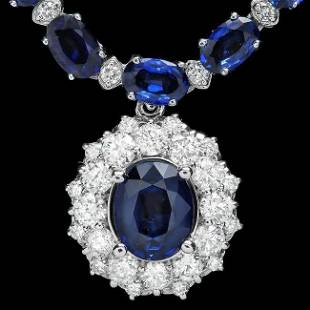 14k Gold 28ct Sapphire 335ct Diamond Necklace