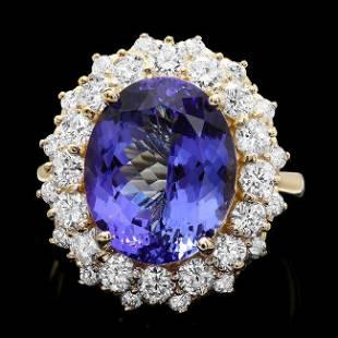 4k Yellow Gold 8ct Tanzanite 1.90ct Diamond Ring