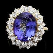 14k Yellow Gold 8ct Tanzanite 190ct Diamond Ring