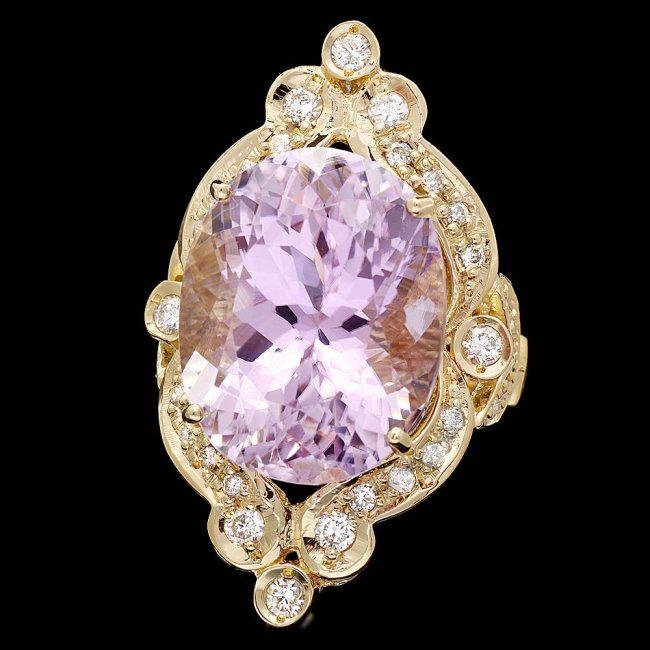 14k Gold 20ct Morganite 0.75ct Diamond Ring