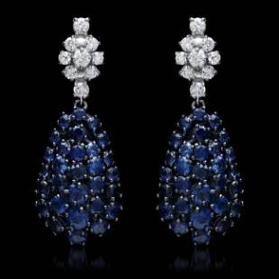 14K Gold 678ct Sapphire 068ct Diamond Earrings