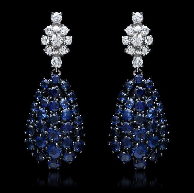 14K Gold 6.78ct Sapphire 0.68ct Diamond Earrings