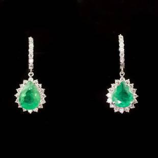 14K Gold 486ct Emerald 179ct Diamond Earrings